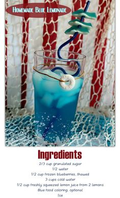 Beat the Summer Heat with this Homemade Blue Lemonade Party Drinks, Fun Drinks, Healthy Drinks, Alcoholic Drinks, Cold Drinks, Cocktails, Easy Drink Recipes, Unique Recipes, Winter Drinks