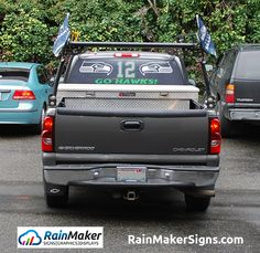 e8d7b561f969d2 Seahawks man Rear window graphics by RainMaker Signs show clients true  passion and thoughtful gift giving