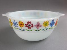 60's 70's Vintage Retro Pyrex Glass Bowl Phoenix Ware Flowers Pattern