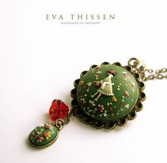 The Gardener. Beautiful hand made polymer clay pendant for the green thumbs. Made to order. $49.00, via Etsy.