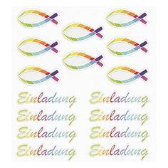 HOBBY-Design Sticker Einladung Regenbogen-Fisch,Bogen 15 x 16,5 cm