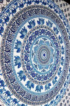 ELEPHANT AND CAMEL BLUE GEM MANDALA  Twin Doona Covers Bed Decor Beach Throws Dorm Sheets Bohemian Tapestries