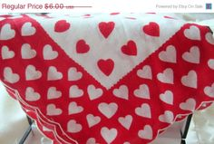 Vintage Red Heart Valentine Handkerchief by VintagObsessions, $5.40
