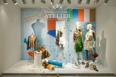 Galeria Kaufhof windows, Berlin  (retail design blog)    Galeria Kaufhof windows Galeria Kaufhof windows, Berlin    Start of the season Galeria Kaufhof granted a glimpse into his creative departments. The spring showcase was designed as studios. However, in all pastel colors.