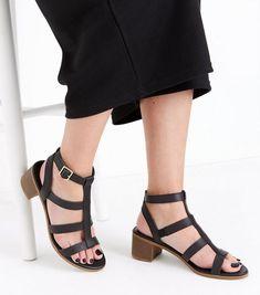 Black Low Block Heel Gladiator Sandals | New Look