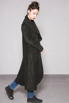 Fleece Coat, Red Hooded Coat, long Coat, Fleece Jacket, Loose Fit ...