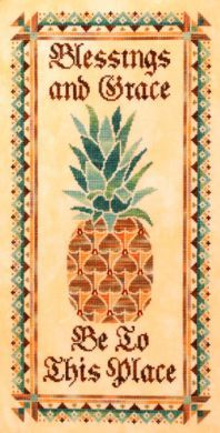 Blessings and Grace. Colonial Pineapple cross stitch. Symbol of warmth and hospitality.