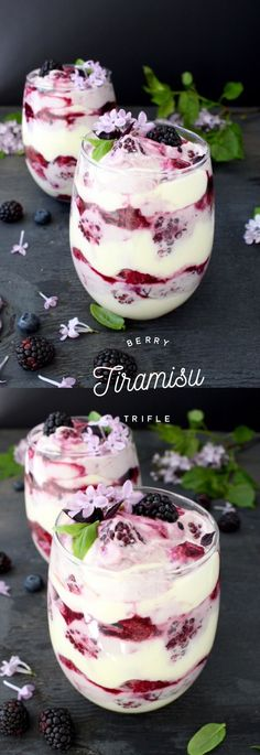 Easy, no alcohol, no bake berry tiramisu trifle made with Mascarpone cream cheese, lady fingers and a blackberry blueberry puree. Brownie Desserts, Trifle Desserts, Just Desserts, Delicious Desserts, Dessert Recipes, Yummy Food, Light Desserts, Delicious Chocolate, Receita Trifle