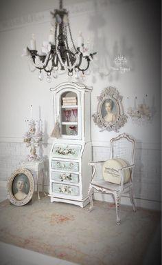 Dollhouse Miniature Ladies Desk, 1:12, OOAK, Display Cabinet, Gustavian Style, Tassel Included, White with Pale Blue Grays by WornElegance on Etsy https://www.etsy.com/listing/521489965/dollhouse-miniature-ladies-desk-112-ooak