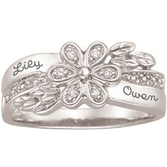 Sterling Silver Couples Flower Ring with Diamond Accents by ArtCarved® (2 Names) - View All Personalized Jewelry - Zales