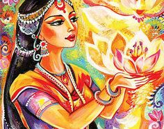 Ora mujer pintura orar pintura espiritual arte de lotus