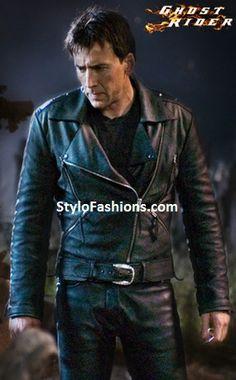 Johnny Blaze Ghost Rider Nicolas Cage Biker Black Leather Jacket | Stylo FashionsStylo Fashions