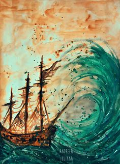 Ship at sea II Stretched Canvas
