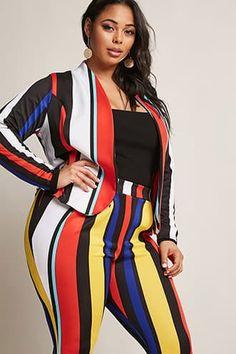 Plus Size Stripe Blazer & Pants Set