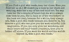 Date a girl who reads. by Rosemarie Urquico Response to: http://thoughtcatalog.com/charles-warnke/2011/01/dont-date-a-girl-who-reads/