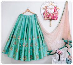 IBFW-Look4: Seagreen lehenga with pink tie dye blouse with nude pink dupatta!!!Perfect for summer weddings....Issa can customize the colour size as per your requirement.To order WhatsApp on 9949944178 or mail @issadesignerstudio@gmail.com 05 April 2017