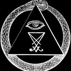 ouroboros, eye of providence, luciferian sigil Occult Symbols, Occult Art, Witch Coven, Satanic Art, Satanic Spells, Demonology, Mystique, Black Magic, Dark Fantasy