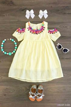 Our open shoulder dress is great quality and stunning! Perfect for Spring and Summer and even photoprops! Super stylish, yet so comfy! Baby Girl Shoes, Baby Girl Dresses, My Baby Girl, Cute Dresses, Flower Girl Dresses, Kids Outfits Girls, Girl Outfits, Light Yellow Dresses, Baby Dress Patterns