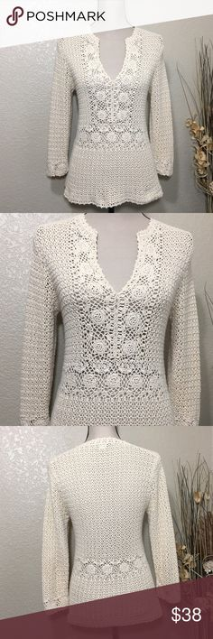 J Crew Crochet Top Ivory Crochet Top with3/4 sleeves. Split neckline and pretty detailing on front, around the waist and the cuffs. Excellent preloved condition J Crew Tops
