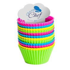 Reusable Silicone NonStick Baking Cups- Assorted Colors Cupcake Holder Set- 24 Pieces by Chuzy Chef® * Check this awesome image  : Baking Tools and Accessories