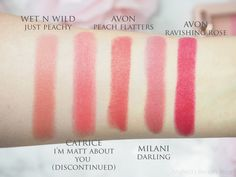 Wet n Wild Just Peachy, Catrice I'm Matt About you, Avon True Colour Perfectly Matte Lipstick Peach Flatters, Milani Matte Lipstick Darling and Avon Ravishing Rose // peach & magenta lipstick swatches on NC10 // Mateja's Beauty Blog