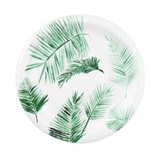 Palm Leaf Paper Plates, white paper plates, tropical leaf plates, palm leaf plate, palm leaf plates, green white plates, palm leaf party