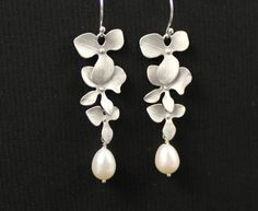 Bridal Necklace Silver Orchid and Pearl Necklace by JamJewels1