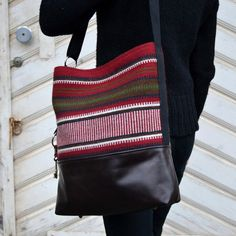 REVONTULI Wine Red Brown Raanu Leather Bag Cross by SalmiakStudio