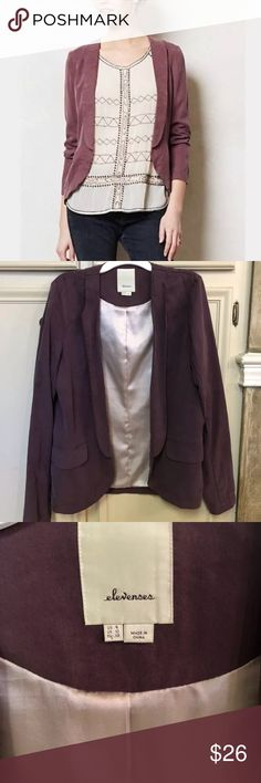 Anthropologie Draped Whitby Blazer Purple Sz 6 M Pre-owned but in excellent condition as it was rarely worn. Gorgeous lightweight blazer that falls gracefully. Beautiful muted purple color and a comfortable silk lining. Two pockets in the front.   Feel free to message me with additional questions! Anthropologie Jackets & Coats Blazers