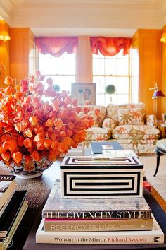 Tory Burch house design home design Tory Burch, Orange Rooms, Orange Walls, Orange Curtains, Red Rooms, Brown Walls, Home Design, Interior Design, Design Ideas