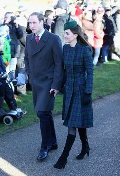 Kate Middleton, Duchess of Cambridge,  @ Christmas 2013 in blue & green tartan Coatdress from Alexander McQueen - also wearing a matching hunter-hued beret & Aquatalia Suede Books - Photo by Getty Images