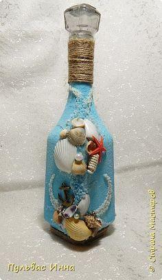 Декор предметов 23 февраля День рождения Свадьба Ассамбляж БУТЫЛОЧКА В МОРСКОМ СТИЛЕ Бутылки стеклянные Материал природный фото 1