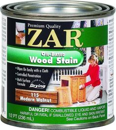 ZAR 12512 Wood Stain, Black Walnut: ZAR Interior Oil-Based Wood Stain wipes on like furniture polish to add rich, uniform color to wood. Controlled penetration brings out the natural beauty of a variety of wood surfaces without streaks or lap marks. Interior Wood Stain, Unfinished Furniture, Dark Mahogany, Wood Surface, Paint Stain, Wood Trim, Early American, Wall Treatments, Polish