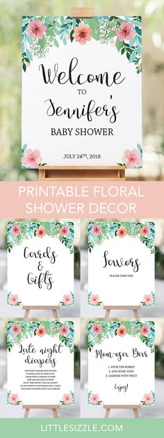 Floral shower ideas by LittleSizzle. Printable floral shower decor package. Decorating your flower baby shower is almost as fun as the party itself! With these pretty floral themed DIY signs, you will add a really great touch to any baby shower. This neutral pink and green baby shower decor package includes the following baby shower signs: Welcome sign template, Momosa sign, Favors sign, Cards and Gifts sign. Simply download, print and display! #babyshowerideas #babyshowerdecor #DIY…