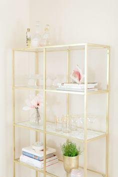 #DIY Gold  Marble Shelves #ikeahack