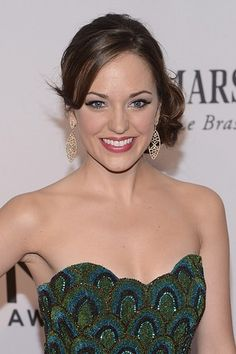 Broadway star Laura Osnes with winged eye liner and a side updo at the Tony Awards.