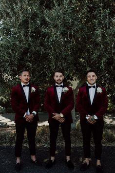 Emma & Ben's Modern Boho Swan Valley Wedding Groomsmen in marsala velvet blazers. Maroon Wedding, Burgundy Wedding, Wedding Men, Wedding Attire, Wedding Decor, Dream Wedding, Boho Wedding, Wedding Ideas, Wedding Suits For Groom