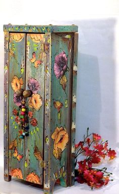 Boho Handmade Wooden Standing Cabinet Mexican Shabby Cottage Chic Boho Handmade Wooden Standing Cabinet Mexican by OliviabyDesign Shabby Chic Pink, Cottage Shabby Chic, Casas Shabby Chic, Modern Shabby Chic, Shabby Chic Wall Decor, Shabby Chic Bedrooms, Shabby Chic Homes, Romantic Bedrooms, Romantic Cottage
