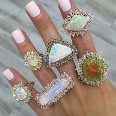 """opal and baguette diamond halo rings by @suzannekalan """"#NEXTLEVEL #WEDIDITAGAIN The Hong Kong Jewellery & Gem Fair International Premier Pavilion▫️ Hall B▫️ Booth 3B115▫️ September 18th - 22nd▫️"""" #opalsaustralia"""