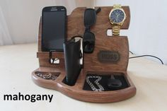 Wood Organizer Docking Station mens Anniversary gift Nightstand organizer Glasses holder Charging dock Wooden phone stand Husband mens gift - Android Phone Stand - Ideas of Android Phone Stand - Escritorio organizador Docking estación carga estación Handmade Gifts For Men, Personalized Gifts For Men, Great Gifts For Men, Gifts For Husband, Handmade Wooden, Gifts For Boyfriend Long Distance, Boyfriend Gifts, Iphone 6 S Plus, Desk Phone Holder