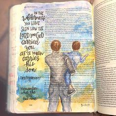 """Deuteronomy I love how effortlessly men carry their children. The LORD carries us through…"" New Bible, Faith Bible, Bible Art, Bible Quotes, Bible Verses, Bible Drawing, Bible Doodling, Art Journal Inspiration, Spiritual Inspiration"