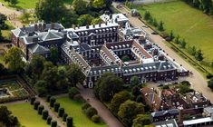 An aerial view of the Kensington Palace, which used to be the Royal seat of power until the monarchy moved to Buckingham Palace.