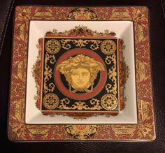 Versace Rosenthal Red Medusa Plate Tray 8 3/4 x 8 3/4 Square Germany w/ box Mint #finechina #rarpchina #medusa