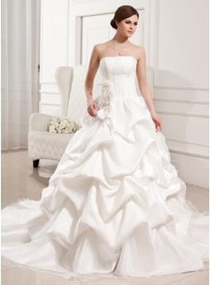 Wedding Dresses - $276.99 - Ball-Gown Strapless Cathedral Train Organza Satin Wedding Dress With Ruffle Flower(s)  http://www.dressfirst.com/Ball-Gown-Strapless-Cathedral-Train-Organza-Satin-Wedding-Dress-With-Ruffle-Flower-S-002011426-g11426