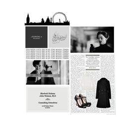 """BBC Sherlock Challenge 14. Sherlock & Irene {It's more than black and white} ♥"" by roxy189 ❤ liked on Polyvore"
