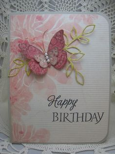 """Happy Birthday: Background seems to be patterned paper; Happy Birthday Stamps: HA antique butterflies and sentiment, Memory Box lorelei outline leaf die, MME """"In Bloom"""" patterned paper. HA antique butterflies and sentiment, HA wet cement Handmade Birthday Cards, Happy Birthday Cards, Greeting Cards Handmade, Birthday Greetings, Birthday Wishes, Pretty Cards, Cute Cards, Diy Cards, Stampin Up Karten"""