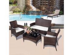 Outdoor Patio Furniture Set Wicker Poolside Backyard Piece Table Chairs Dining #patio #patiofurniture #wickerfurniture #furniture # wicker #poolside #outdoor
