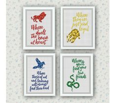 Set of 4 Quotes,Hogwarts Houses Cross Stitch Pattern,Harry Potter cross stitch,Gryffindor,Hufflepuff,Ravenclaw,Slytherin ,Logo, PDF Download by ElCrossStitch on Etsy https://www.etsy.com/ie/listing/490488691/set-of-4-quoteshogwarts-houses-cross