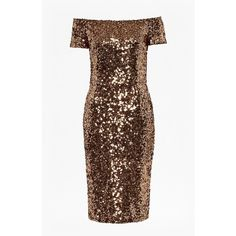 Cosmic Sparkle Midi Dress ($165) ❤ liked on Polyvore featuring dresses, off the shoulder cocktail dress, brown dress, brown cocktail dress, brown sequin dress and holographic dress