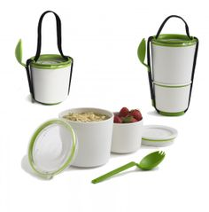 Two pots with an ingenious watertight seal. Separate your yoghurt and muesli or noodles and fruit salad - Lunch Pot is the perfect vessel for carrying your breakfast or lunch to work. The smaller pot . Pots, Design3000, Boite A Lunch, Lunch Containers, Lunch Boxes, Storage Containers, Little Lunch, Kitchenware, Tableware
